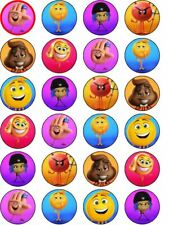 24 x Emoji ICING Edible Cupcake Toppers Party Decoration
