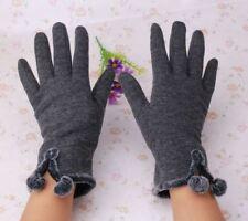 Damen Handschuhe Baumwolle grau elegant mit Bommeln gefüttert warm