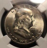 1951 S Franlkin Half Dollar 50c Silver High Grade Toned NGC MS65