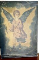 18th/19th C SPANISH COLONIAL RELIGIOUS ANGEL PAINTING CUZCO Signed GG Qevedo