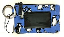 Vera Bradley ZIP ID CASE PLAYFUL PENGUINS BLUE Coin Purse Wallet NWT