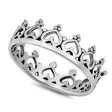 .925 Sterling Silver Ring size 5 Heart Crown Midi Knuckle Kids Ladies New p60