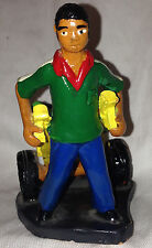 """HAITI CLAY FIGURINE MAN WITH VEGETABLE CART 3.75"""" TALL BY 4"""" LONG SIGNED"""