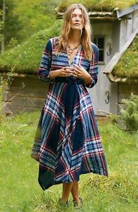 Anthropologie Isabella Sinclair Tartan Surplice Plaid Midi Dress Size M