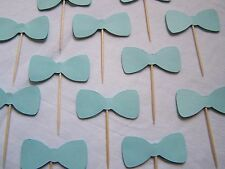 Light blue Bow tie party cupcake toppers set of 12 baby shower gender Party