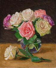 Original oil painting  still life flora rose flower 10x12 inch, Y Wang Fine Art