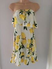 White/yellow Cold Shoulder Floral Short Dress By Boohoo, Uk 12, New