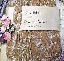 """1y Vtg 7/8"""" French Beige Tan Velvet Ribbon Trim Boho Crushed Panne Vtg Antique"""