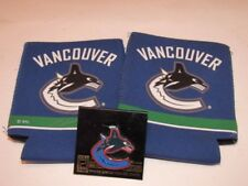 VANCOUVER  CANUCKS   Hockey NHL Logo LAPEL PIN ; BOTTLE CAN COOLER HOLDERS NEW