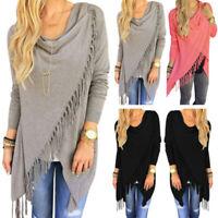 Ladies Irregular Sweater Cardigan Tassel Long Sleeve Jumper Loose Shawl Coat Top