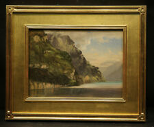 19th Century American Marina Landscape Ocean View with Mountain