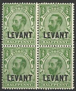 BRITISH LEVANT KGV 1911-13 1/2d GREEN BLOCK MINT