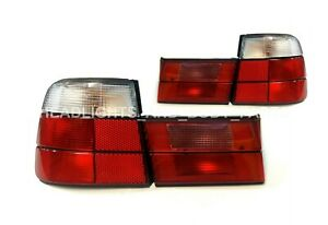 TAIL LAMPS(white) set, 4 pcs, With Socket, tuning (sedan) fits for BMW 5 E34 88-