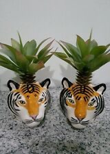 Tiger Head Figurine Vase Pot Ceramic Mini Plant Succulent Planter Flower Decor