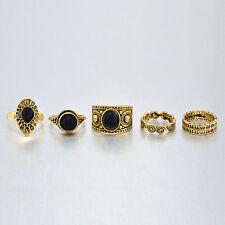 Fashion Vintage 5 pcs Antique Girls Ring Sets Natural Black Stone Finger Rings
