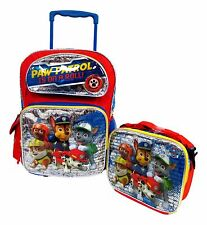 """Paw Patrol Large 16"""" Rolling Backpack Wheeled Book Bag & Lunch Box"""