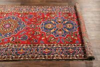 ANTIQUE VEGETABLE DYE 13ft WIDE RUNNER TRADITIONAL FLORAL RUG HAND-MADE RED 5X13