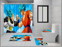 Dragon Ball Vegeta 4PCS Bathroom Rug Shower Curtain Bath Mat Toilet Lid Cover