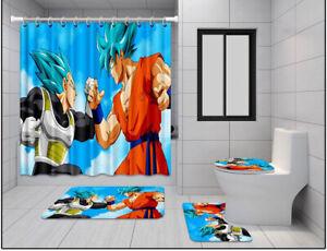 Dragon Ball Vegeta 4PCS Bathroom Rug Shower Curtain Bath Mat Toilet Lid Cover