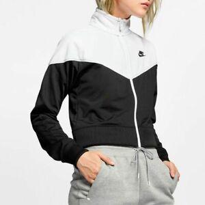 Nike XS Heritage Black & White Cropped Full Zip Up Track Jacket AT3908-010