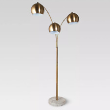 Project 62 Span 3-Head Metal Globe Floor Lamp Faux Marble Base Brass *Worn Box*