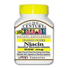 21st Century Flush Free Niacin 500mg 110 Capsules -Expiration Date 01-2019-