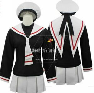 CARD CAPTOR SAKURA Cosplay Costume Girl Sailor School Uniform With Hat