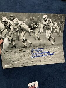 Lenny Moore SIGNED 16 By 20 Stat Photo of 1958 Championship Game Colts JSA