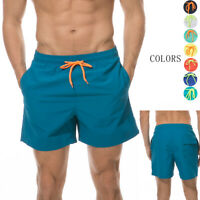 Men's Beachwear Board Shorts Surf Swimming Bathing Suit Plain Bright Color Lined