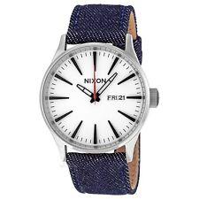 New Nixon A1051540 Sentry Leather Dark Denim / Cream Men's Watch in Original Box