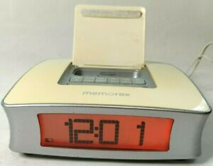 Memorex iPod Alarm Clock Docking Station AM FM White Powered Radio Mi4019-WHTAU