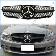 For 08-14 BENZ W204 C-Sedan 4DR SL Look Gloss Shiny Black Cover Fin Front Grille