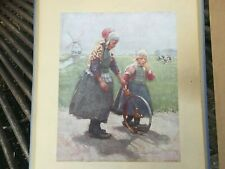 Rare Vintage 1932 Playdays in Holland Frantz Charlet Print Girls rolling hoop