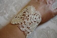 Silver Filigree Chantilly Lace Cuff Bracelet Nordstrom Haute Look NEW with Tag