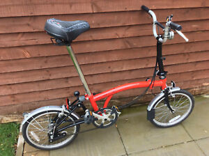 BROMPTON M3L RED BLACK FOLDING BIKE BICYCLE - WORLDWIDE POSTAGE