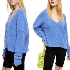 FREE PEOPLE Finders Keepers Periwinkle V Neck Sweater LARGE NWT G197