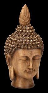 Gartenfigur - Buddha Kopf in Holzoptik   Statue Skulptur Dekofigur H 30 cm