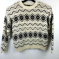 Studio Mens Large Vintage 80s 90s Cosby Knit Hip Hop Fresh Ski Crewneck Sweater