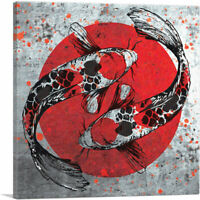 ARTCANVAS Ying Yang Koi Carp Fish Japan Flag Canvas Art Print