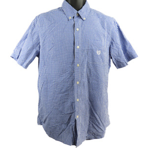 Chaps Blue & White Checkered Short Sleeve Button Down Shirt Men's Size Medium
