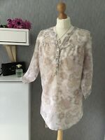 M&S Collection Size 14 Tunic/blouse In Linen/ Cotton 3/4 Sleeves