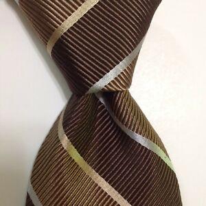 ROBERT TALBOTT Carmel Mens Silk/Cotton Necktie Luxury STRIPED Brown/Tan/Gray EUC