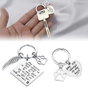 2pcs Pet Memorial Keyring Dog Cat Memorial Gifts Set with Velvet Pouch Souvenir