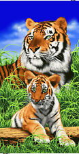 "Tigers Beach Bath Towel 30"" x 60"" Wild Animals Velour Tiger"