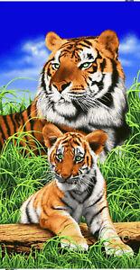 "Tigers Beach Bath Towel 30"" x 60"" Wild Animals Velour Tiger"