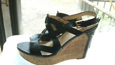 Beautiful GUESS Black Strappy Cork High Wedges - Size 8M