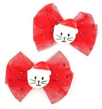 Zest 2 Red Christmas Hair Clips with Red Mesh Bow & Santa Cat