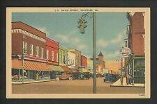 Virginia VA postcard Culpeper Davis Street Drug Store Traffic Light linen