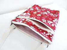 Red cherry blossom Double zip Cross body/Messenger/light weight/adjustable strap