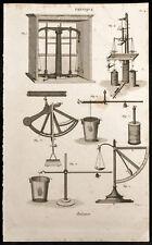 1852 - Gravure physique Balance. Science, balance, poids
